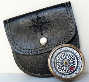 Antique Brass Flat Working Hiking Compass With Black Leather Case Vintage Gift