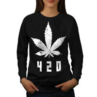 Wellcoda White Cannabis Leaf Womens Sweatshirt, Weed Casual Pullover Jumper