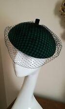 Elegant Green Hat Fascinator By Dickins & Jones With Black Veil NWOT!
