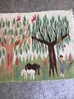 Vintage Pictorial Tree of Life Wall Hang Rug