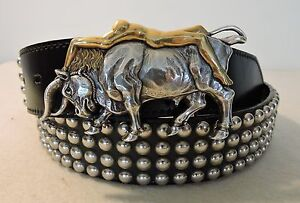 U.S.A Western Concho Belt Hand Crafted Micro Studs on Black Leather Strap
