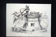 Incisione d'allegoria e satira Austria, Papa Pio IX, Gaeta Don Pirlone 1851