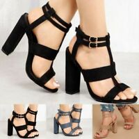 Women's Ladies Block High Heels Buckle Ankle Strap Open Toe Party Sandals Shoes