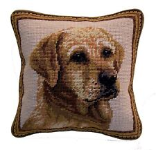 "Yellow Lab/Labrador Retriever Dog Needlepoint Pillow 10""x10"" NWT"