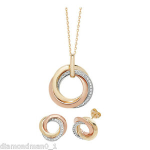 9ct Yellow Gold Necklace Complete with Triple Circle CZ Pendant And Earring Set
