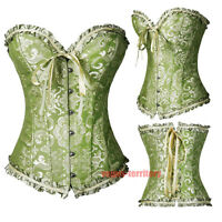 Plus Size S-6XL Womens Sexy Boned Lace up Back Satin Corset Top Bustier G-string