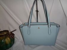 Tory Burch Emerson Small Top Zip Tote Crossbody Handbag Clear Blue Leather