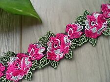 1Y~4cm~Venise Embroidered Lace Trim Rose Leaves Sew Craft Applique DPINK & GREEN