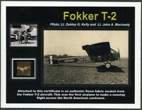 Fokker T-2 - Genuine Piece of the Original Fabric on an Impressive Certificate