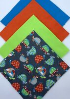 "48 - 6.5"" Cotton Flannel Precut Fabric Squares, Charm Pack - Bright Turtles Gray"