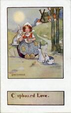 "PRINTED CHILDRENS POSTCARD ""CUPBOARD LOVE"" BY AGNES RICHARDSON, PUB. FAULKNER"