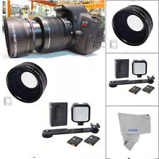 WIDE ANGLE + LED LIGHT FOR Canon Rebel EOS XTI 1200D T3 T3I T4 T5 T6 7D 6D 80D