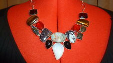 "NWOT never worn 20"" Multi-Gemstone and silver-tone chain bib necklace."