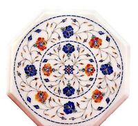 "12"" White Marble Coffee Table Top Lapis Lazuli Marquetry Floral Inlay Decor H629"