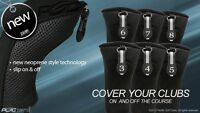 HYBRID HEAD COVERS FULL COMPLETE 3 4 5 6 7 8 SET THICK GOLF CLUB BLACK HEADCOVER