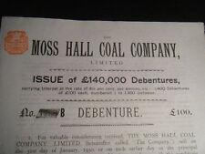 Moss Hall Manor House Coal Company 1899 £100 Debenture Audlem, Cheshire, England