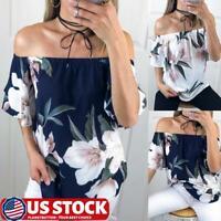 Womens Boho Floral Print Off Shoulder Tops Short Sleeve T Shirt Loose Blouse US