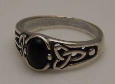 Triquetra Goddess Ring .925 Sterling Silver Sz 10 w/ Genuine Black Onyx gemstone