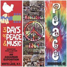 WOODSTOCK ~ 3 POSTER SET 12x36 Crowd Lineup Peace LOT 1969 Music White Lake