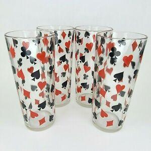 Vintage Card Party Glasses Bridge Poker MCM Suit Icons Tall 12 oz. Set of 4