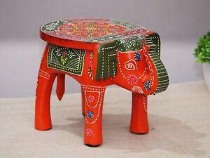 Indian Handmade Wooden Elephant Shape ORANGE Color Decor Side Table Statue Table