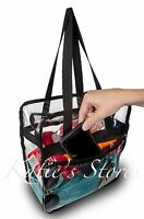CLEAR NFL TOTE BAG STADIUM APPROVED 12x12x6 Zipper Side Pocket! FAST SHIPPING!