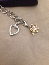 Carriage Crown Heart Charm Bracelet With Dimonte Silver Metal Look