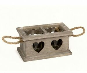 Rustic / Shabby Chic Grey Washed Wooden Heart Tray with Handles /For 2 Tealights