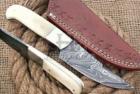HUNTEX Custom Handmade Damascus Steel 21 cm Long Camel Bone Handle Hunting Knife