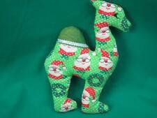 HOMEMADE GREEN CHRISTMAS SANTA CLAUS CAMEL FOLK ART DECORATION PLUSH DECORATION