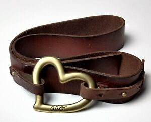 American Eagle Brown Leather Belt Brass Heart Logo Buckle Size Small