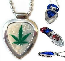 PICKBAY Guitar PICK Holder Necklace SET w Weed Cannabis Guitar Pick Gr8 Gift