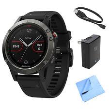 Garmin Fenix 5 Multisport 47mm GPS Watch w/ Black Band + Accessories Bundle