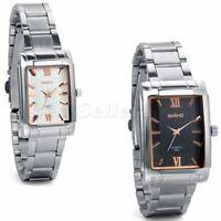 Men Women Fashion Square Dial Stainless Steel Quartz Analog Sport Wrist Watch