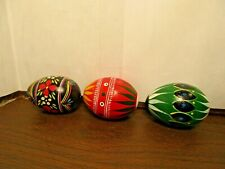 3 Decorative Colorful Ukrainian Wooden Easter Eggs - Hand Painted