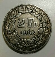 Suisse/Switzerland. 2 Francs 1908 Rare Key Date