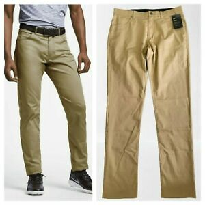 Msrp $85 Nike Flex Men's Sz 32x34  Slim Fit 5-Pocket Golf Pants Biege