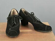 """Vtg Women's 30s 40s Black Suede Shoes Sz 8.5 B (Narrow) 1930s 1940s 2"""" Heel"""