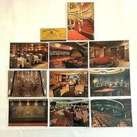Set of 10 Queen Mary 2 Postcards with First Class Passenger Ticket Rare 2004