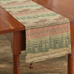 Moose Jacquard Forest Rustic Cotton Country Cottage Table Runner