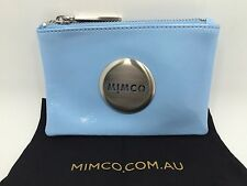 BNWT MIMCO SMALL MIM POUCH WALLET ICE POP SILVER Plating Patent LEATHER
