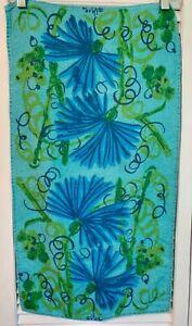 Vintage Vera Floral Tea Towel Blue Flowers Bright Greenery Turquoise Background
