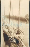 """1920 photo Sail Yachts Capella & Trilby in Ramsey Harbour Whitweek 5.5x3.5"""""""