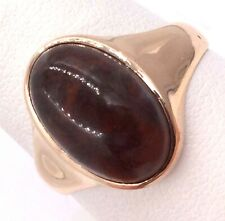 10k Yellow Gold Dark Red Agate Ring Size 9.5 5g