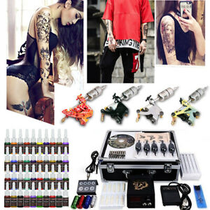 Complet Tattoo Kit de Tatouage 4 Machine Gun à Tatouer 40 Couleur Interruttore