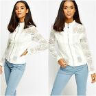 Womens White Crochet Zig-Zag Bomber Leather Trim Lined Zip Crew Summer Jacket