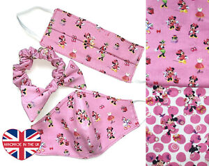 Face Mask For Kids Mickey Minie Mouse Daisy Duck Scrunchie Handmade in London