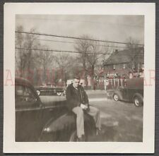 Vintage Car Photo Man on 1940 Ford by Madison Pizza Sign 672283