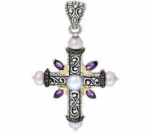 Barbara Bixby Sterling & 18K Iolite & Cultured Pearl Cross Enhancer