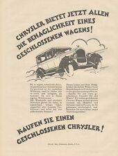 J1175 Automobili CHRYSLER - Pubblicità grande formato - 1927 Old advertising
